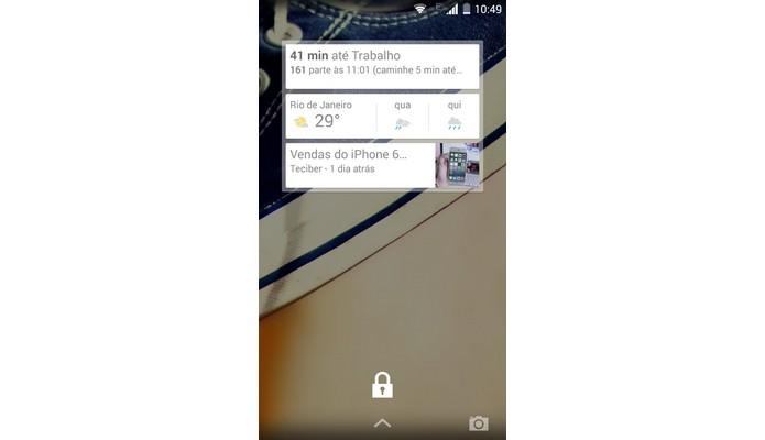 Tela de bloqueio do Android exibindo widget (Foto: Reprodução/Raquel Freire)