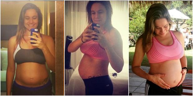 Fernanda Gentil aos seis, sete e oito meses de gravidez (Foto: Reprodução/Instagram)