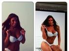 Nicole Bahls posa de lingerie branca para campanha de moda íntima
