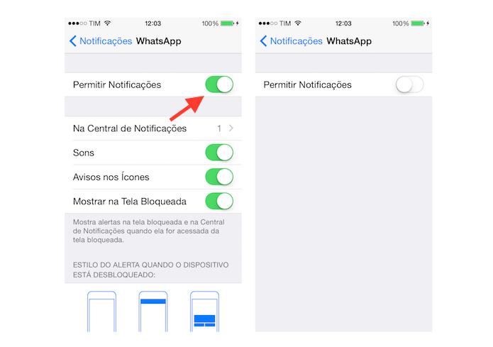 Desativando as notificações do WhatsApp no iPhone (Foto: Reprodução/Marvin Costa)