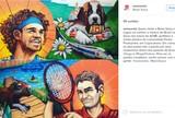 Fora da Olimp�ada, Federer estampa desenho com Guga na Casa da Su��a