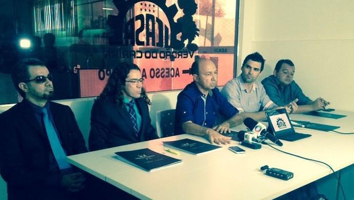 Coletiva da diretoria do Icasa STJD (Foto: Raquel Oliveira)