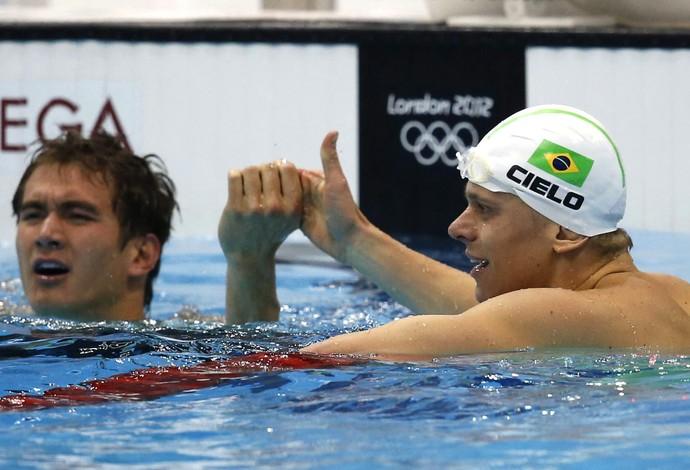 cesar cielo Nathan Adrian natação 100m livres (Foto: Agência EFE)