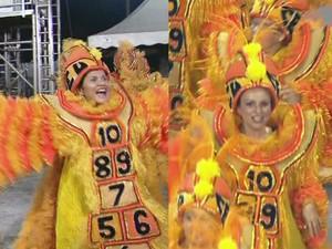 Desfile da Império da Vila deste ano (esq.) e da Rosas de Ouro em 2014 (dir.) (Foto: Reprodução/TV Tribuna)