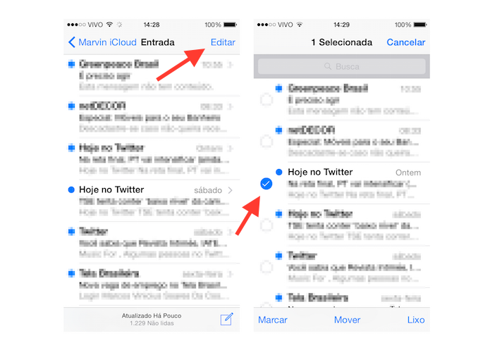 Selecionando um e-mail que será enviado para uma outra caixa de entrada no Mail para iOS (Foto: Reprodução/Marvin Costa)