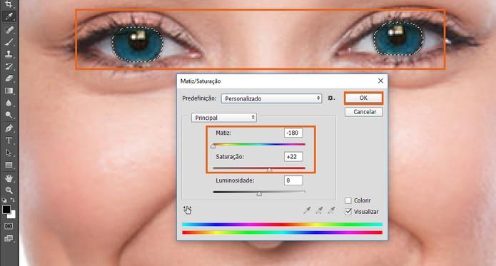 Altere a cor dos olhos e ajuste a tonalidade com a saturação (Foto: Reprodução/Barbara Mannara) (Foto: Altere a cor dos olhos e ajuste a tonalidade com a saturação (Foto: Reprodução/Barbara Mannara))
