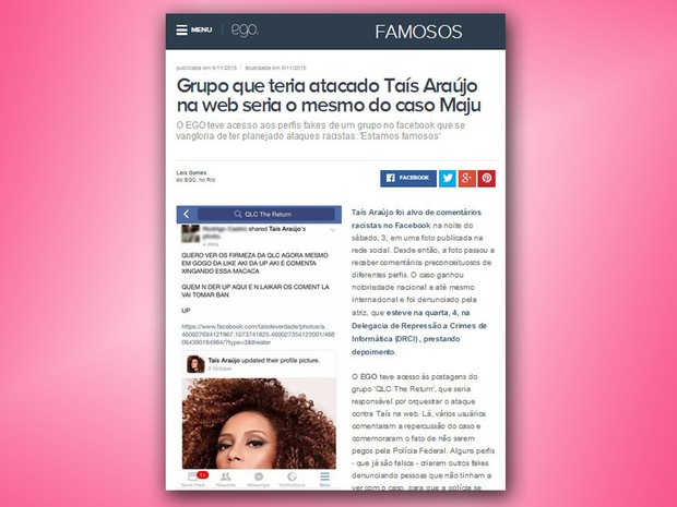 Taís Araújo e Maria Júlia Coutinho foram vítimas do mesmo grupo de racistas (Foto: Reprodução/ Internet)