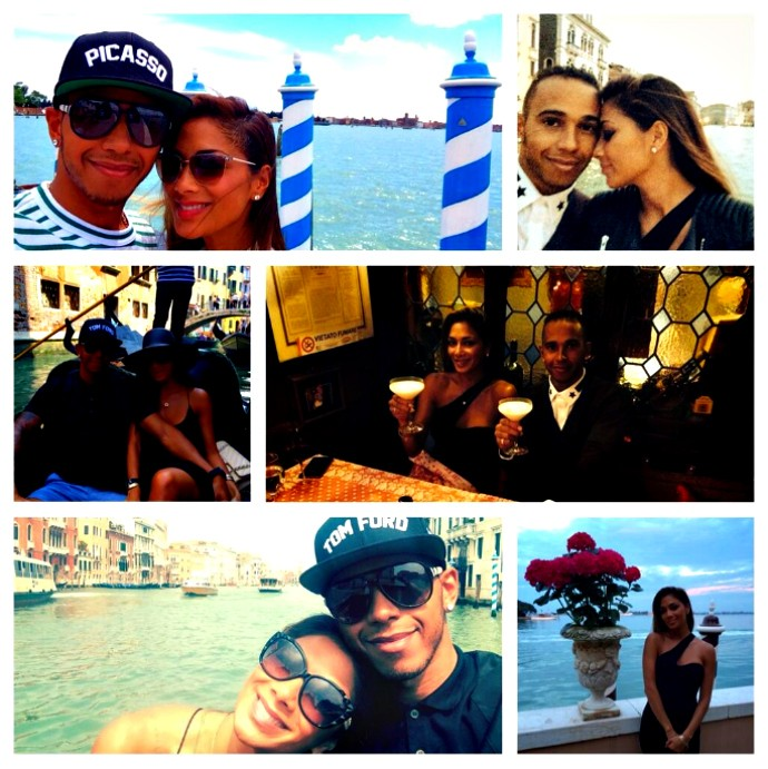 Hamilton e Nicole comemoram os seis anos de namoro na Itália e EUA (Foto: Reprodução/Twitter)
