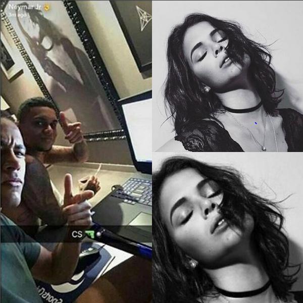 Neymar faz post com quadro de Bruna Marquezine ao fundo (Foto: Reprodução/Instagram)