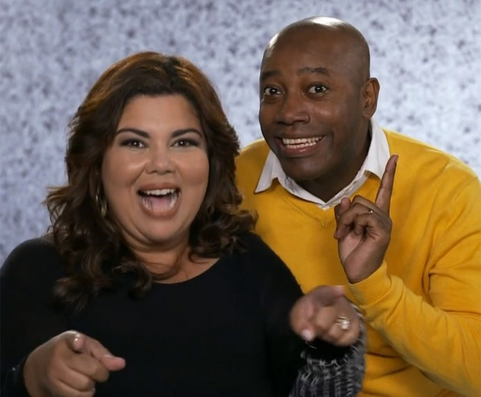 Fabiana Karla e Nando Cunha gravando a chamada para o Tomara que Caia (Foto: TV Globo)