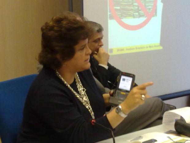 A ministra do Meio Ambiente, Izabella Teixeira, durante coletiva realizada nesta terça-feira em Brasília (Foto: Brenda Brandão/G1)