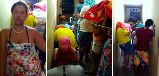 'Muito homem, tudo misturado', diz grávida amarrada em delegacia do RN (Foto: Divulgação/Sinpol-RN)