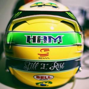 Lewis Hamilton, capacete, Ayrton Senna, GP do Brasil (Foto: Reprodução / Instagram)