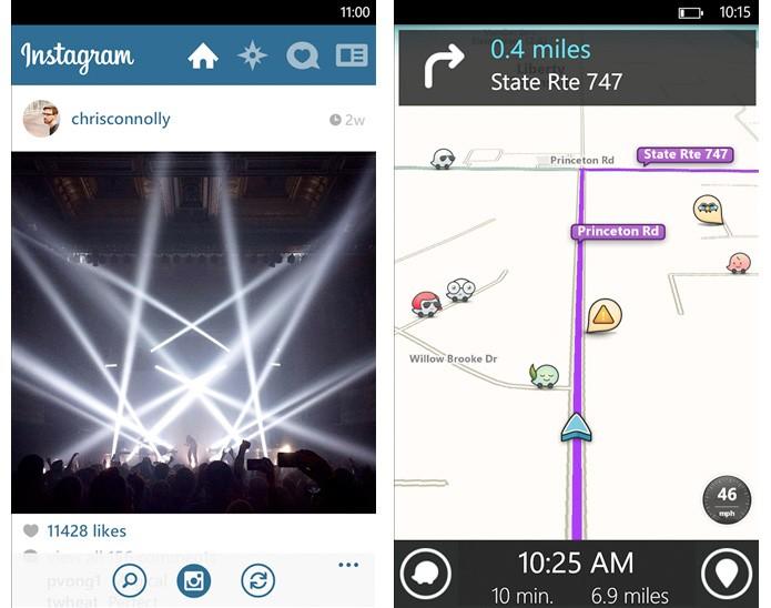 Instagram e Waze para Windows Phone 8 (Foto: Divulgação)