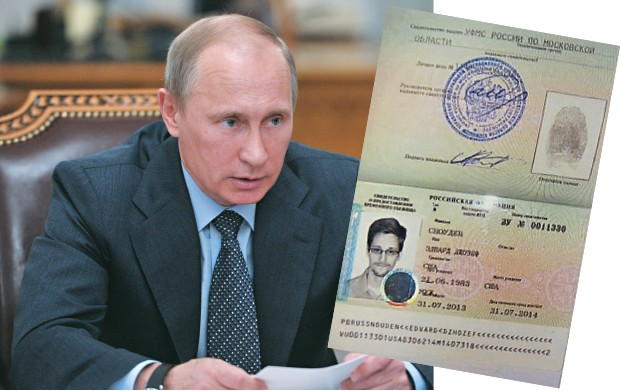 VISTO Vladimir Putin, presidente da Rússia, e  o visto de asilo concedido a Edward Snowden (acima). O incidente  criou um estremecimento diplomático entre  Rússia e Estados Unidos (Foto: Alexei Nikolsky/AP)