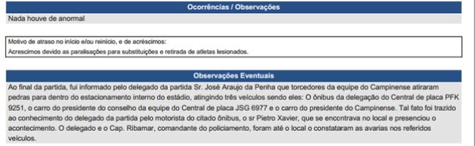 Árbitro da partida entre Central e Campinense relata confusão entre torcidas na súmula (Foto: Reprodução / CBF)