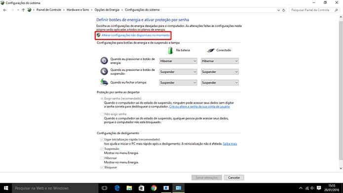 Windows 10 precisa que usuário libere opções ocultas para adicionar Hibernar no Iniciar (Foto: Reprodução/Elson de Souza)