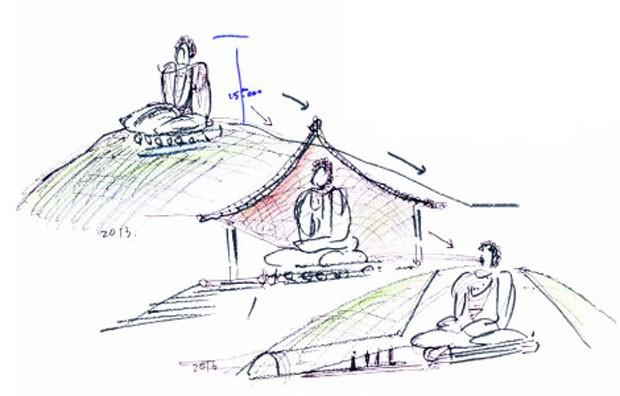 Tadao Ando constrói templo verde ao redor de Buda gigante (Foto: Divulgação)