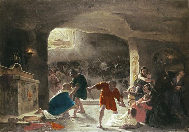 NO TEMPO DAS CATACUMBAS Reprodução de quadro do italiano Giuseppe Mancinelli, que retrata a perseguição aos primeiros cristãos, antes de o cristianismo virar a religião oficial do Império Romano (Foto: Glowimages/SuperStock)
