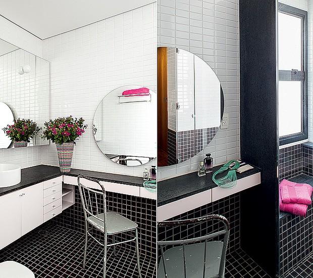 O banheiro do casal possui espaço até para uma penteadeira moderna, entre a bancada da pia e o boxe. Ao lado das duas duchas, um banco de alvenaria é outra pitada de conforto que o projeto permitiu. Projeto do arquiteto Maurício Arruda (Foto: Victor Affaro/Casa e Jardim)