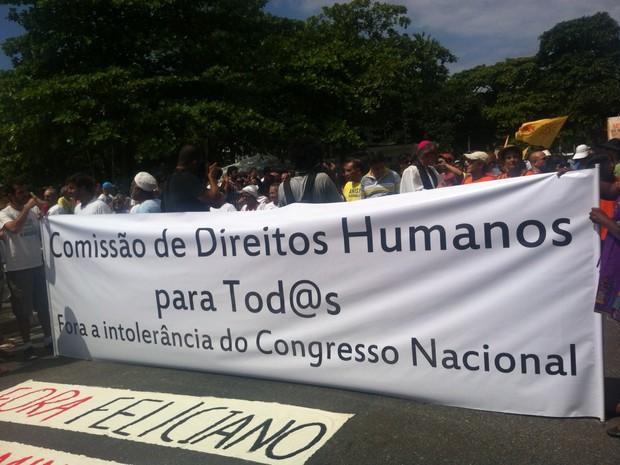 Manifestantes protestam contra a intolerância e a discriminação em Copacabana (Foto: Divulgação / Assessoria de Comunicação de Marcelo Freixo)