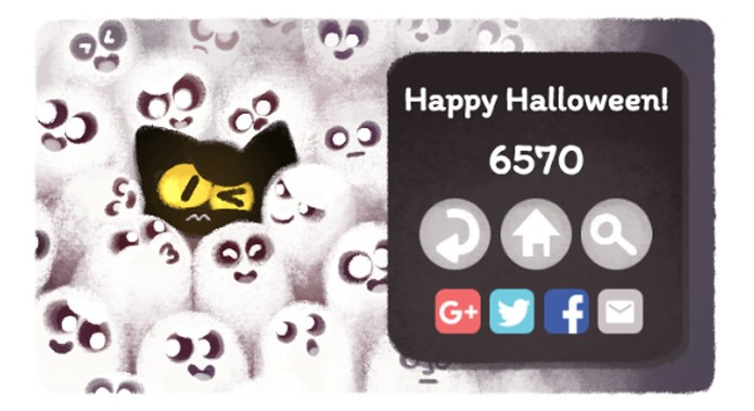Minigame de Halloween no doodle do Google (Foto: Reprodução/Felipe Vinha)