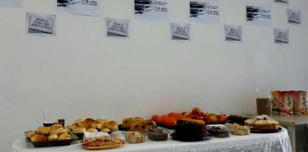 Mesa de café da manhã para jornalistas  (Foto: Divulgação/ Marketing TV Gazeta)