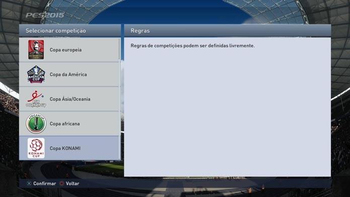 Selecione a Copa Konami (Foto: Reprodução/Murilo Molina)