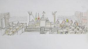 No plenário, jurados ficam ao lado esquerdo, réus e advogados na parte direita da ilustração (Foto: Leo Aragão/G1)