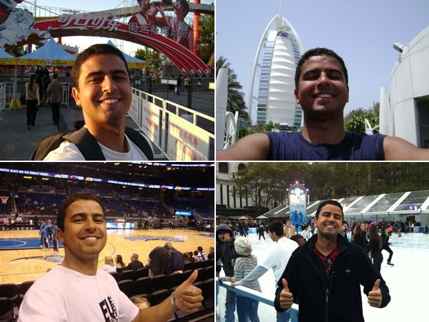Gustavo Gamaliel em Pequim, Dubai, na Disney e em Nova York; o engenheiro conhece 36 países, e para ao menos 20 deles viajou sozinho (Foto: Gustavo Gamaliel/Arquivo pessoal)