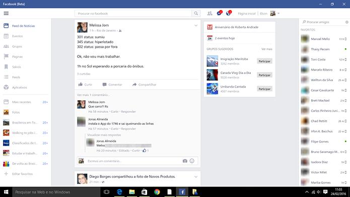 Facebook para Windows 10 tem interface similar à do navegador (Foto: Reprodução/Elson de Souza)