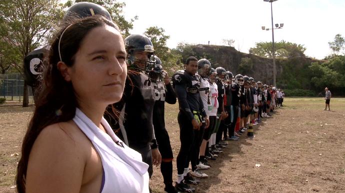 Vivian Pontes, presidente do time de futebol americano do Rio Branco (Foto: Reprodução/TV Gazeta)
