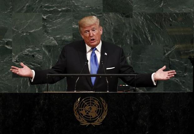 O presidente dos Estados Unidos, Donald Trump, durante discurso na ONU (Foto: JUSTIN LANE/EFE)