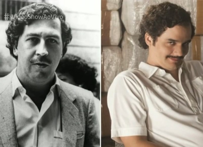 À direita, Wagner Moura caracterizado como Pablo Escobar em 'Narcos' e, à esquerda, o próprio traficante colombiano (Foto: Vídeo Show / TV Globo)