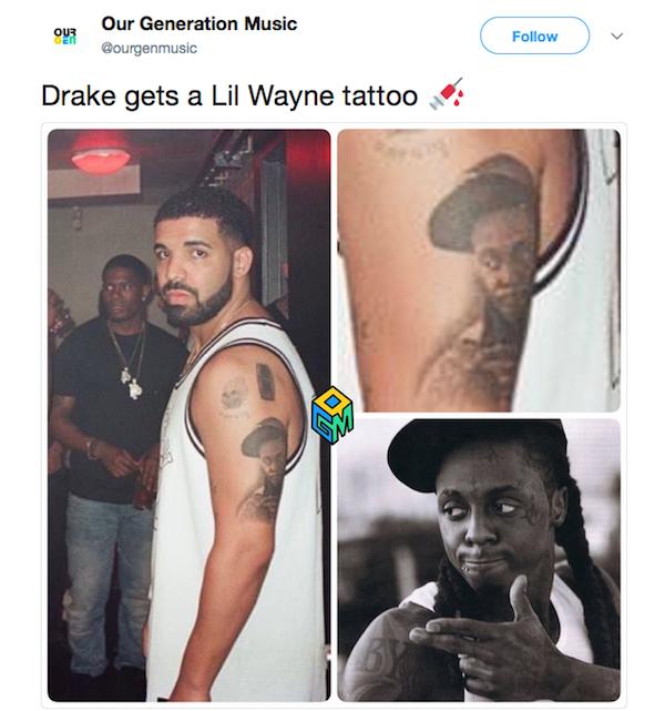 Um site de música comparou a tatuagem de Drake com a foto de Lil Wayne na qual foi inspirada (Foto: Twitter)