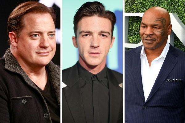Bradon Fraser, Drake Bell e Mike Tyson são alguns dos famosos que não estão bem com a conta bancária (Foto: Getty Images)