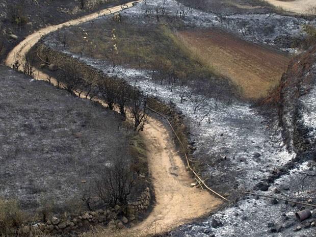 Resultado de incêndio ocorrido nas Ilhas Canárias, na Espanha; altas temperaturas dificultam combate (Foto: Santiago Ferrero/Reuters)