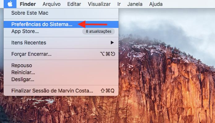 Acessando as preferências de sistema do Mac (Foto: Reprodução/Marvin Costa)