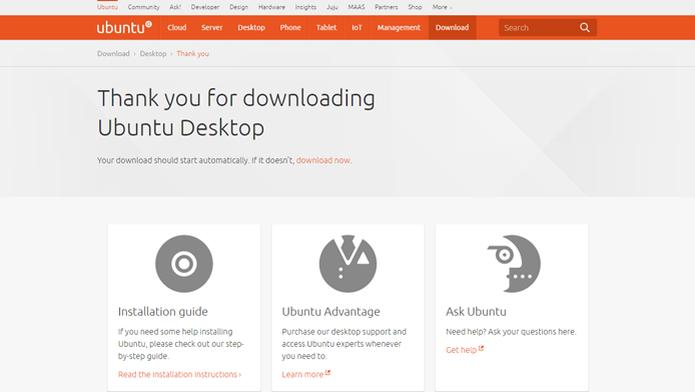 Distribuições do Linux podem ser baixadas de graça (Foto: Reprodução/Ubuntu) (Foto: Distribuições do Linux podem ser baixadas de graça (Foto: Reprodução/Ubuntu))