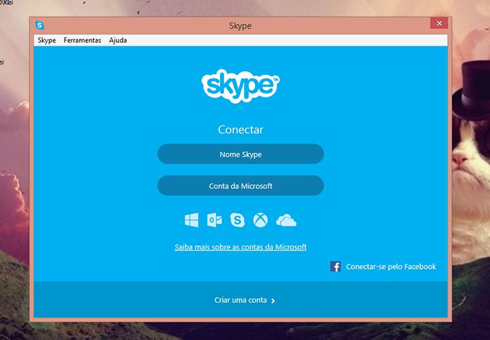 Faça login na sua conta antiga no Skype para poder enviar os contatos (Foto: Reprodução/Elson de Souza)