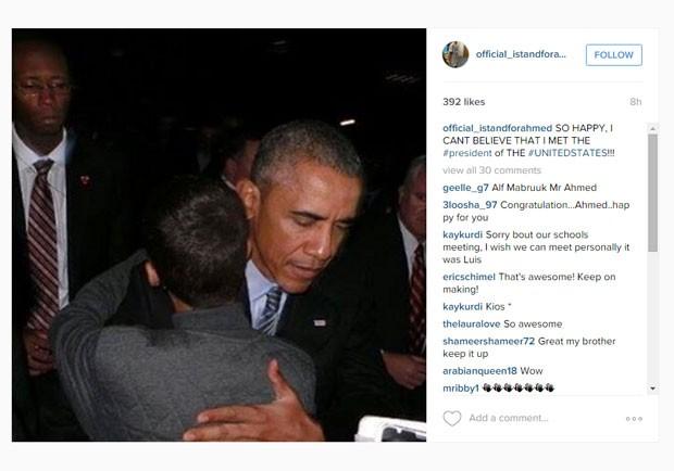 Ahmed Mohamed, aluno de 14 anos que foi preso por engano em sua escola, nos EUA, postou uma foto com Barack Obama em sua conta no Instagram (Foto: Reprodução/Instagram)