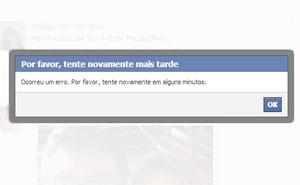 Facebook apresenta problemas na manhã desta segunda-feira (21) (Foto: Reprodução/Facebook)
