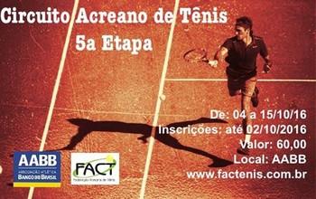 5ª Etapa do Acreano de Tênis será disputada na AABB (Foto: FACT/divulgação)
