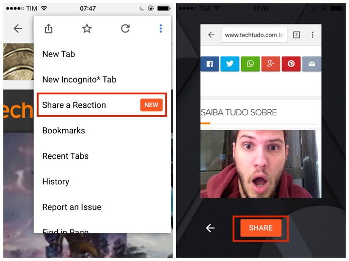 Para compartilhar sua selfie, clique no novo botão do menu de configurações do Chrome para celulares (Foto: Reprodução/Paulo Finotti)