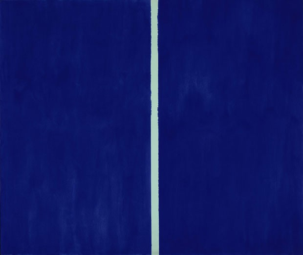 "A obra ""Onement VI"", do pintor americano Barnet Newman, foi vendida por US$ 44 milhões (Foto: Sotheby's Auction House/AP)"