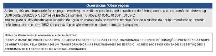 Súmula do jogo entre Treze e Águia de Marabá (Foto: Reprodução / site da CBF)