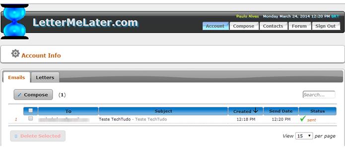 Com LetterMeLater é possível agendar e-mails a partir de diversos serviços (Foto: Reprodução/Paulo Alves)