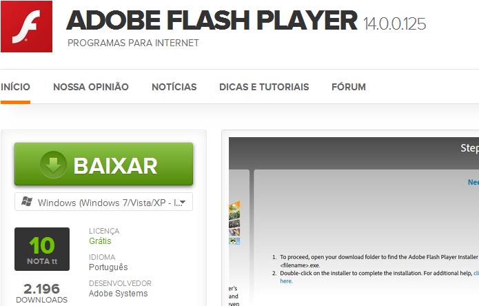 Baixando o Flash no TechTudo Downloads (Foto: Reprodução/Edivaldo Brito)