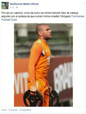 Guilherme Mattis se despede do Fluminense no Facebook