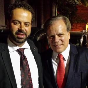Daniel Nepomuceno, presidente do Atlético-MG, ao lado do jornalista Chico Pinheiro (Foto: Marco Antônio Astoni)